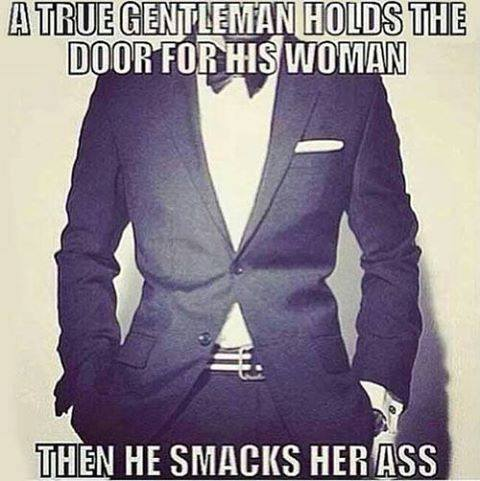 gentlemen hold doors and smacks ass